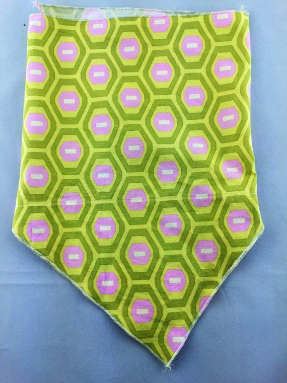 Have A Little Fun: Stash pocket bandana w/ Bright Green, Pink, white geometric print