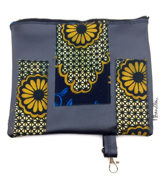 Black Faux Leather Fanny Pack/Utility Belt or Clutch w/ African Print Textile Appliqué by BandHäna