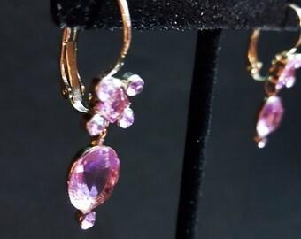 Vintage Faux Purple Gem Earrings