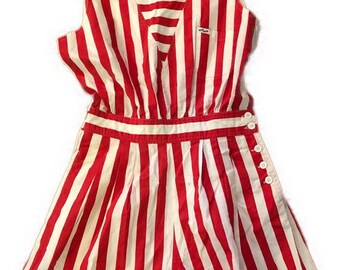 b632f87b9711 Vintage 1980s cotton sailor red   white striped tank romper playsuit with  button details