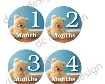 monthly baby stickers printable teddy bear monthly baby stickers free set of newborn sticker designs instant download
