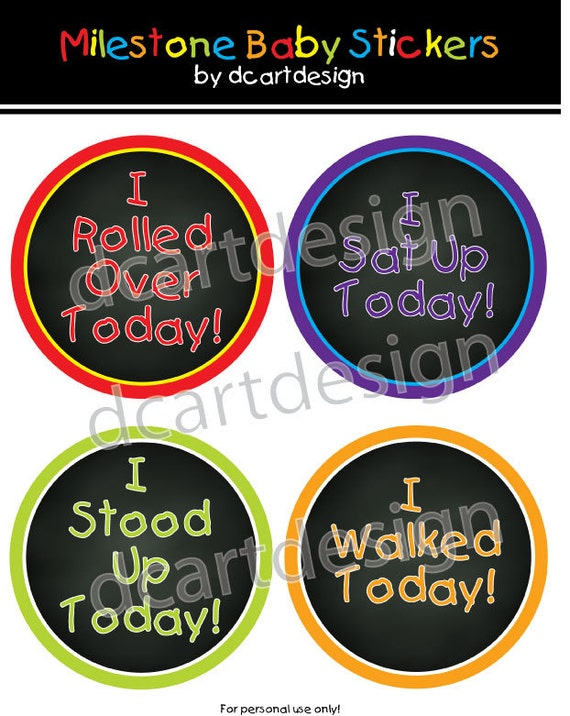 colorful chalkboard milestone baby stickers instant download etsy