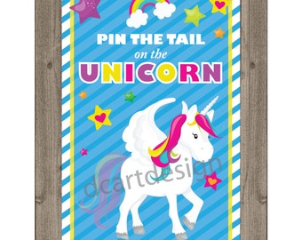 Pin the Tail on the Unicorn Game and Sign. Printable Pin the Tail Game. Unicorn Party. INSTANT DOWNLOAD.