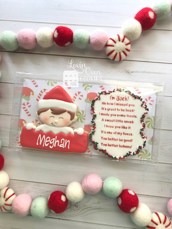 Personalized Elf Decorated Sugar Cookies  Gift Box