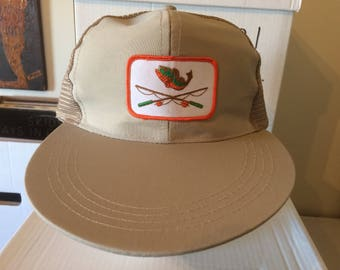 Vintage Fishing Hat - extra long visor - tan cap with embroidered patch -  orange and green patch - excellent condition ce0ebf7fb89