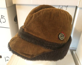 cf753b17c29 Vintage Alpine Style Hat - brown corduroy with faux fur - plastic pin with  tic tac toe design - very good used condition - tag is missing
