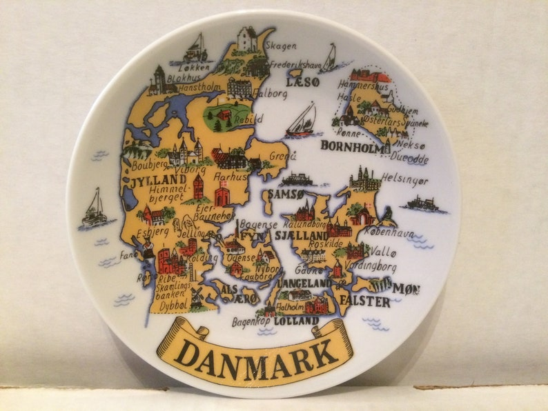 Vintage Collectible Plate - Map of Danmark - many city names - small 4 5  inch diam - white ceramic - great used condition
