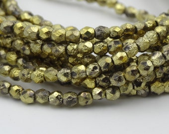 3mm Gold Ore Etch Fire Polished  50 Pieces