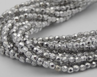 3mm Silver Ore Etch Fire Polished  50 Pieces