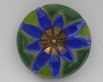 Czech Glass Button 27mm Star Flower   1 Piece