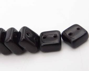 Chexx 6mm 2 Hole Square Beads Jet  25 Pieces