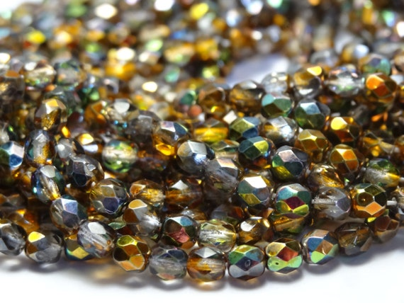 50 4mm Round Fire Polish Czech Glass Beads Dark Topaz Yellow Matte