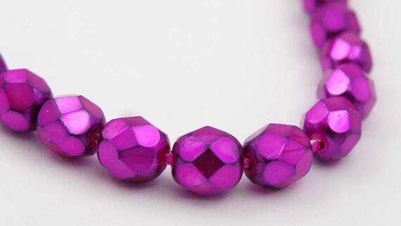 Neon Pink 25 6mm Czech Glass Firepolish Beads