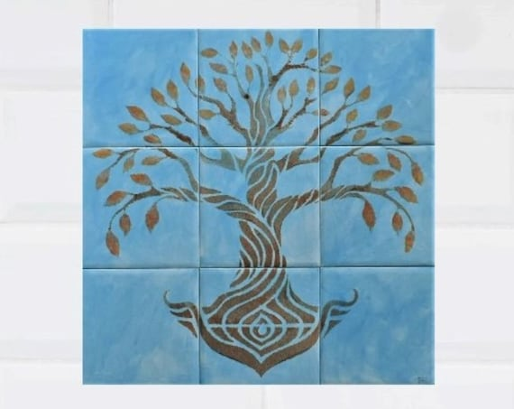 Kitchen backsplash, Custom Tile mural, Tree of Life Handmade, Sky Blue, Ceramic Tile.