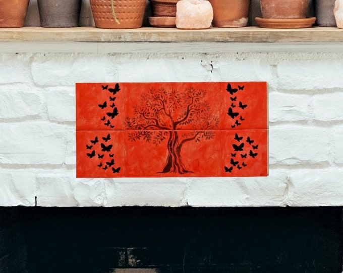 Tile mural, Kitchen Backsplash, Tree of Life Handmade, Wall decor, CUSTOM SIZES AVAILABLE. 16in x 8in.