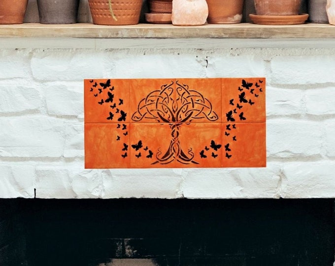 Fireplace tiles, Hand painted, Backsplash, Tile mural, Tree of Life wall art. CUSTOM SIZES AVAILABLE.
