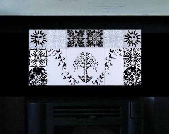Fireplace, tiles, Hand, painted, tile mural, Backsplash, Tree of Life Handmade, CUSTOM SIZES AVAILABLE.