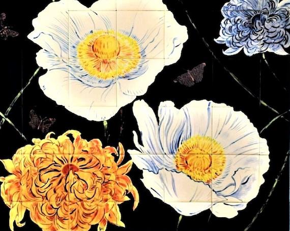 Backsplash Tiles, Flowers, Hand painted tile, Splashback for kitchens, Tile mural.
