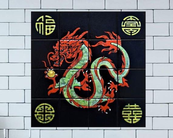 Backsplash mural, Tile mural, Handmade, Dragon Art, Tile Splashback, CUSTOM SIZES.