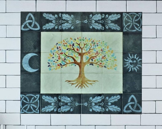 Tile mural, Kitchen Backsplash, Hand paint tiles, Wall decor, ceramic tiles, Tree of Life Handmade, CUSTOM SIZES AVAILABLE. 24in x 20in.