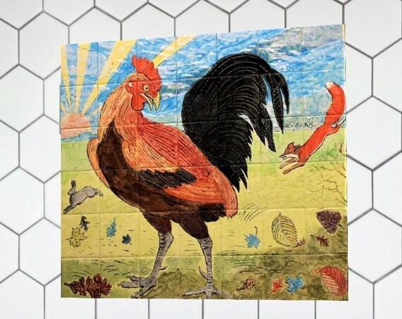 Backsplash Ceramic Tile, Stove backsplash, Rooster, Hand painted tile, Splashback for kitchens, Tile Mural.
