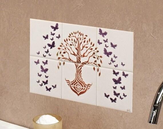 Backsplash tile, Tree of Life Handmade 100%, Tile mural, Splashback for kitchens, hand painted tile.