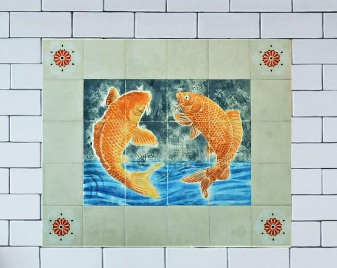 Kitchen Backsplash, Koi Fish Tile, Tile mural, Wall decor, CUSTOM SIZES AVAILABLE. 24in x20in.