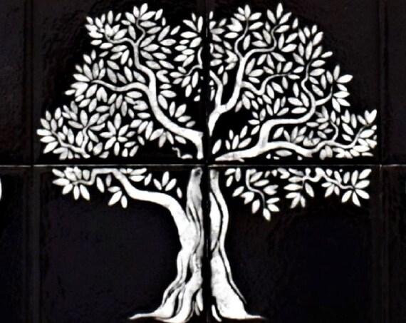 Backsplash tile, Black and white art, Tile mural, Tree of Life Handmade 100%, Splashback for kitchens.