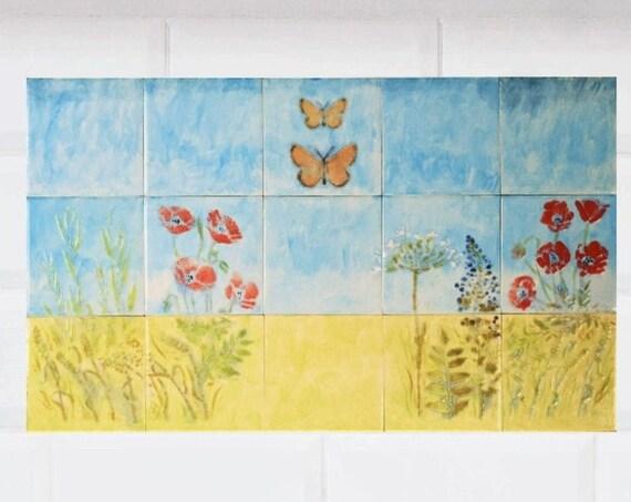 Tile mural kitchen backsplash, Handmade, CUSTOM SIZES.
