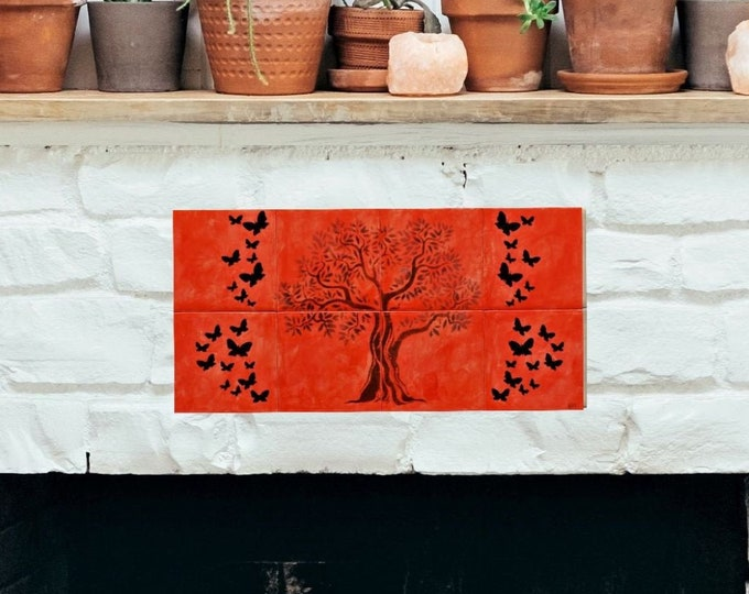 Fireplace tiles, Backsplash, Custom Fireplace, Tree of Life Handmade, Wall decor, CUSTOM SIZES AVAILABLE. 16in x 8in.