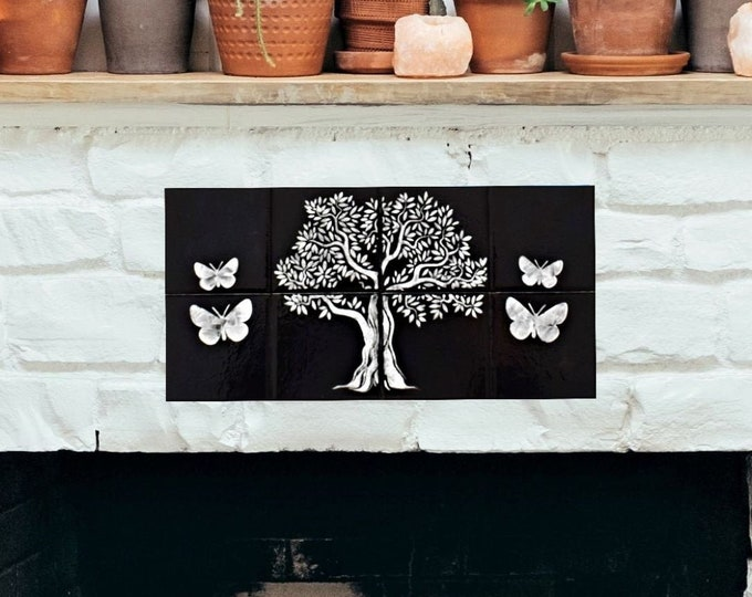 Kitchen splashback, Tree of Life Handmade, Ceramic Tile, Wall art, CUSTOM SIZES AVAILABLE. 16in x 8in.