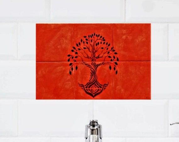 Backsplash Tile, Tree of Life Handmade, Splashback for kitchens, Tile Mural, hand painted.