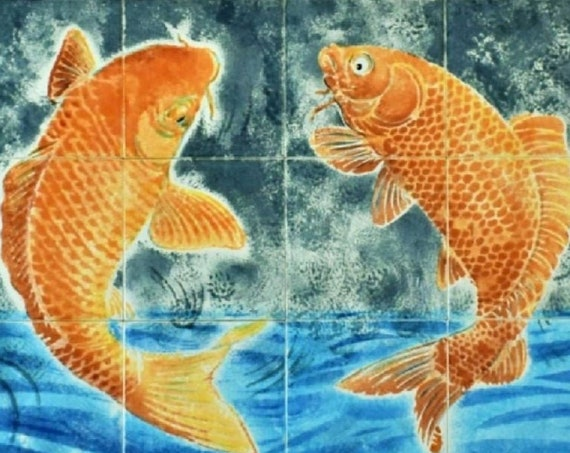 Tile mural, Hand painted tile, Kitchen Backsplash Idea, Splashback, Koi Fish Decor, Decorative ceramic wall mural.
