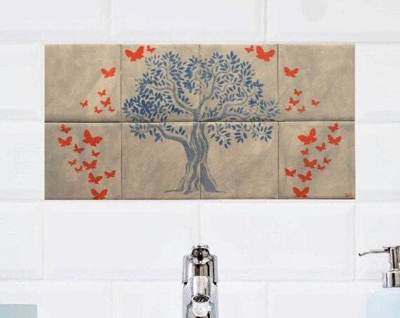 Tile mural kitchen backsplash, Handmade, CUSTOM SIZES.