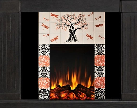 Fireplace Surround, **We Can Do Any Size or Design For You**, (Send us a message for more details) Tree of Life,Handmade, Hand painted tile.