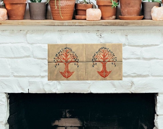 Fireplace tile, Tile mural, Hand painted Tile, Decorative tiles, Tree of Life, Handmade.