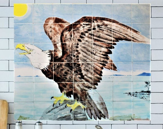 American Eagle, Kitchen backsplash tile, Handmade Painted Tiles, CUSTOM SIZES.