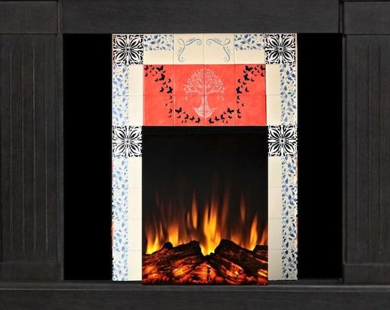 Fireplace Tile Ideas, Handmade, Custom tile, Free Shipping, CUSTOM SIZES AVAILABLE.