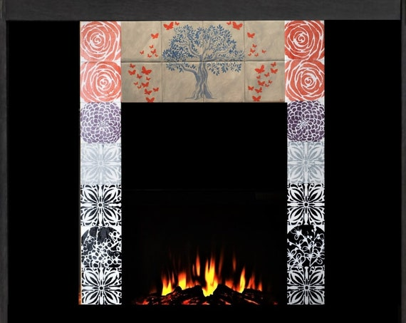 Fireplace Surround, Custom Tile, Ceramic tiles, Handpainted.