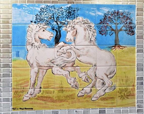 Stove backsplash, Backsplash Tile, Horse, Custom Tile mural, Hand painted tile, Splashback for kitchens.