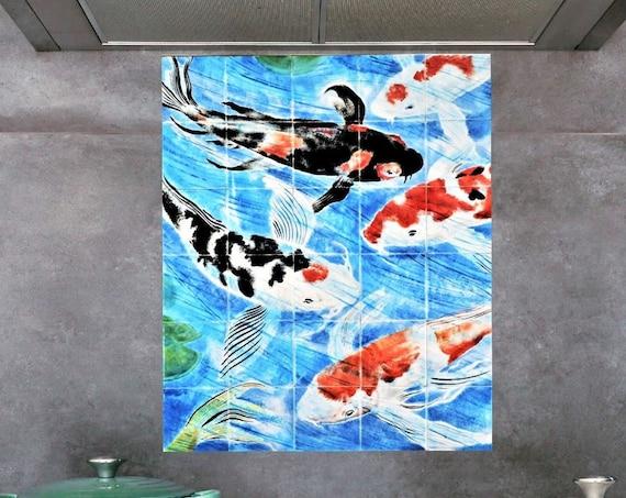 Backsplash Tile, Koi Fish Painting, Handmade, CUSTOM SIZES.