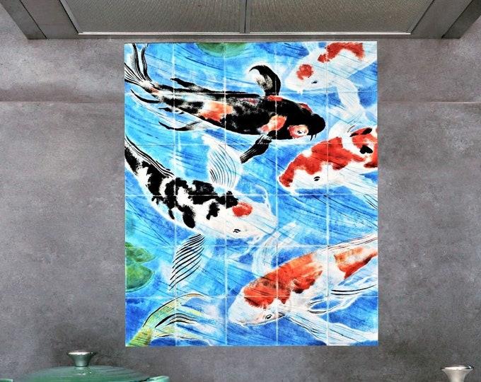 Tile mural, Koi Fish Tile, Hand paint tiles, Ceramic tile, Wall Decor, CUSTOM SIZES AVAILABLE. 24in x 20in.