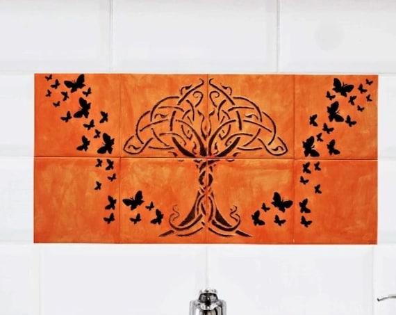 Backsplash Tile, Tree of Life Handmade, Splashback for kitchens, Hand painted.
