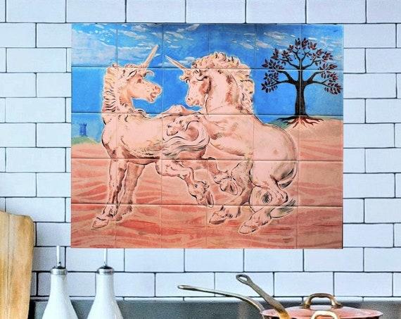 Backsplash, Unicorn painting, Wall Tiles for Kitchen, Handmade, CUSTOM SIZES.