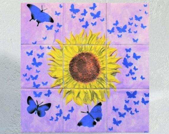 Tile Mural, Backsplash, Hand painted, Sunflower decor, CUSTOM SIZES.