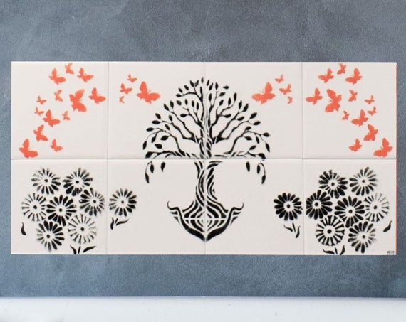 Tile mural kitchen backsplash,Handmade, CUSTOM SIZES.