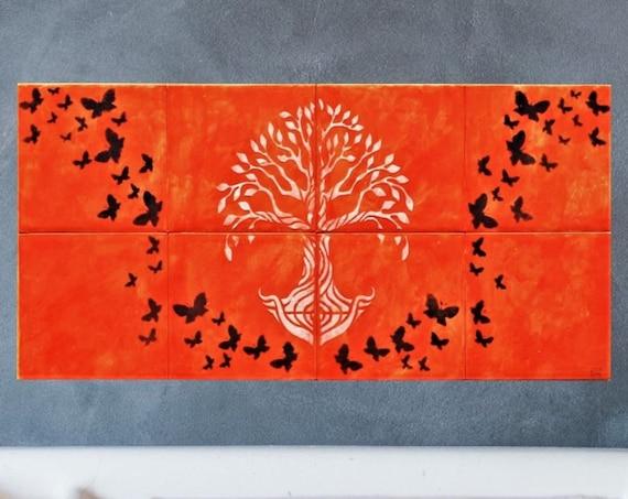Backsplash Ceramic Tile , Tile mural, Tree of Life Handmade, Splashback for kitchens
