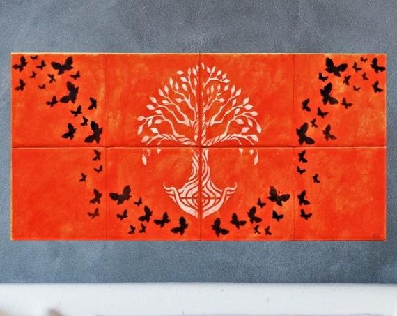 Decorative tiles, Fireplace, Hand, painted, Tile mural, Tree of Life Handmade, Backsplash, CUSTOM SIZES.