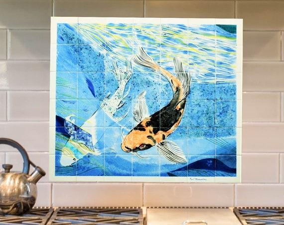Backsplash, Hand Painted, Decorative tiles, Tile mural, Splashback with Koi Carp, Wall art, custom sizes available.