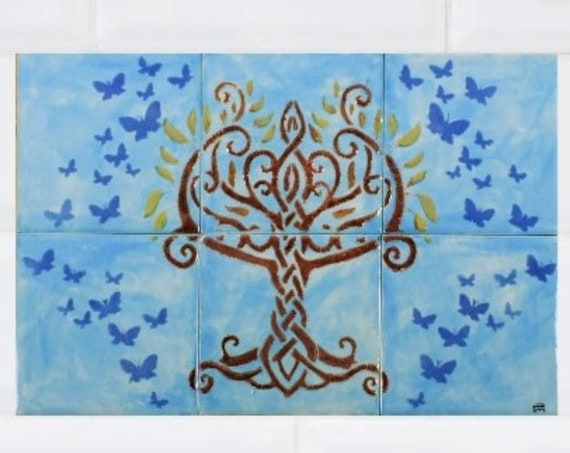 Tree of Life Wall Art, Kitchen Backsplash Ideas, Handmade, CUSTOM SIZES.